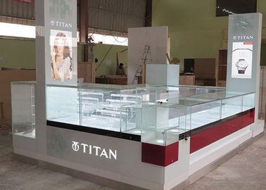 Watch Custom Mall Kiosk Crystal Glass Combine Wood With LED Spot Lights