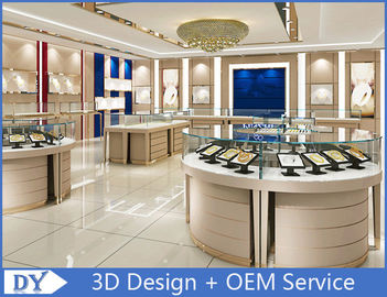 Jewellers Showroom / Jewelry Display Cases Beige With Lacquer Finished Attractive