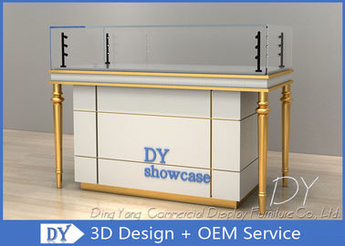 Lockable Glass Store Jewelry Display Cases With LED Pole Lights / Jewellery Shop Showcase