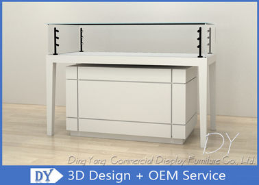 Modern Wooden Glossy White Jewellery Showroom Counter With Cabinet