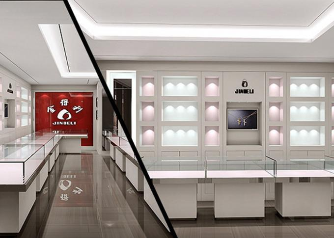 Crystal Tempered Glass Top Showroom Display Cases Decorated With Pole Lights