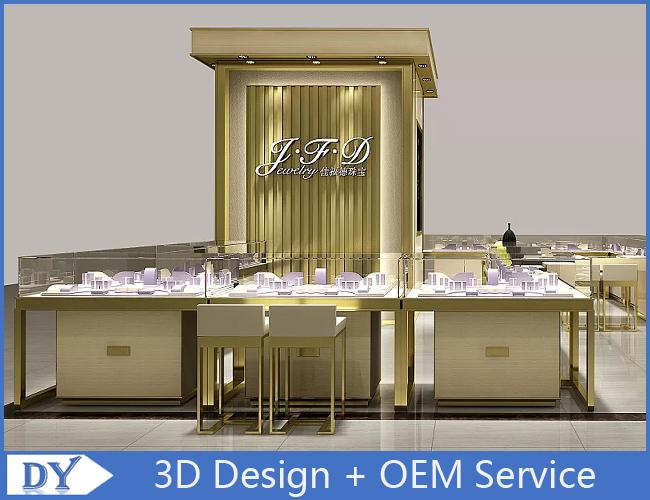 Luxury Wood Veneer Jewellery Counter Designs With OEM LOGO