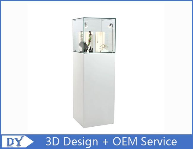 High Gloss Shinning White Tower Pedestal Showcases With LED Spot Lights