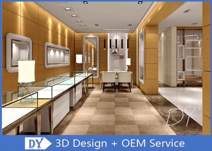 Brush Gold Stainless Steel Jewelry Counter Design With Wood Cabinet