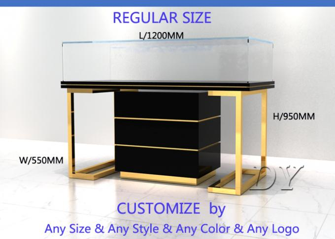 Wood Stainless Steel Jewelry Display Cases With Led Matte Black + Mirror Gold Pre Assemble