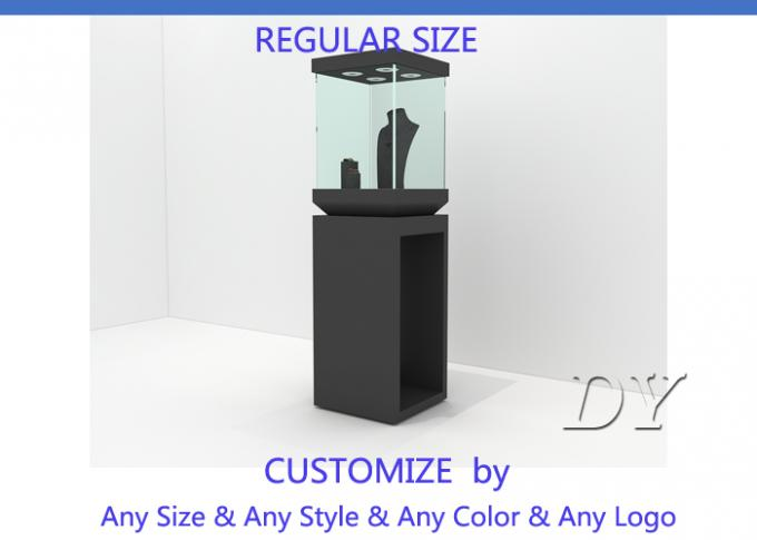 Modern Black Wooden Glass Jewelry Tower Display Cases For