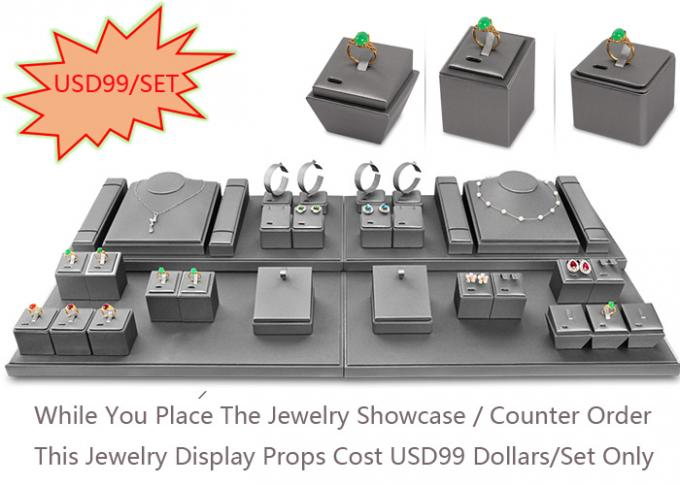 Store Jewelry Merchandise Display Cases with Stainless Steel + Wood + Glass + Lights