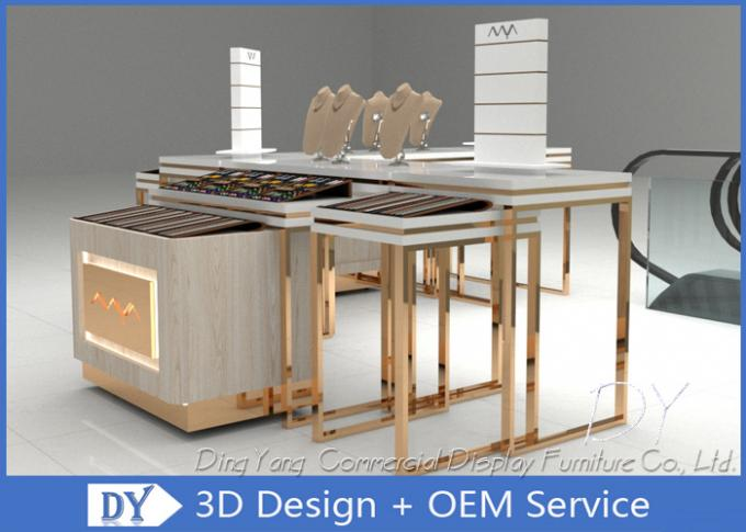Easy Install Jewelry Showcase Display , MDF Wooden SS Jewellery Shop Display Counters
